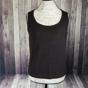 St John dark brown knit sleeveless scoop neck top